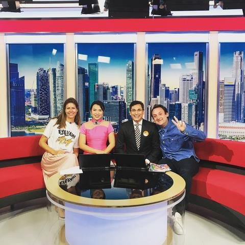 Tanya Wilson and Steve Lawler with the hosts of ChannelNewsAsia's First in Look